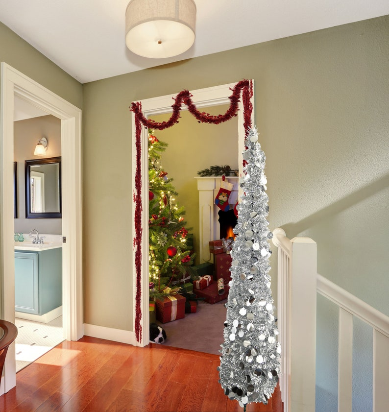 5 Foot Pop Up Christmas Tinsel Tree Collapsible