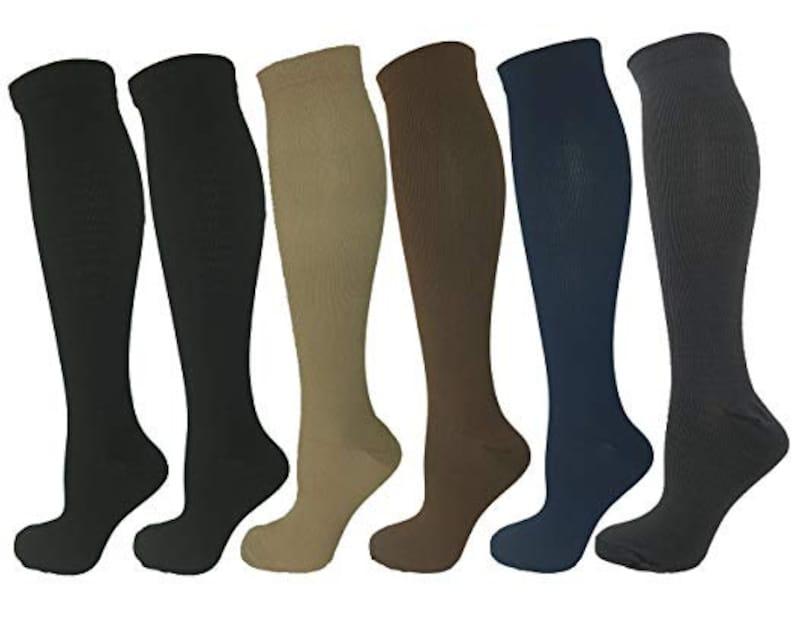 Women/'s Shoe Sizes 10-14 Navy Blue LargeX-Large Ladies Compression Socks One Pair Medium Compression 15-20 mmHg Men/'s Sizes 9-13