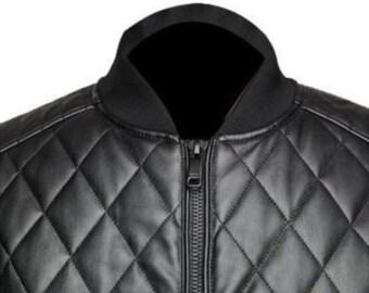 Mens Tom Hardy Bomber Aviator Real Dunkin Leather Biker Cafe Racer Jacket