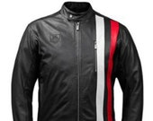 Mens Tag Heuer Black Sheepskin Biker Red And White Stripes Leather Racer Jacket Motorcycle Retro