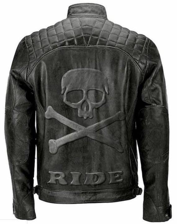 Men/'s Biker Reinforced Vintage Distressed Black with Skull Leather Jacket