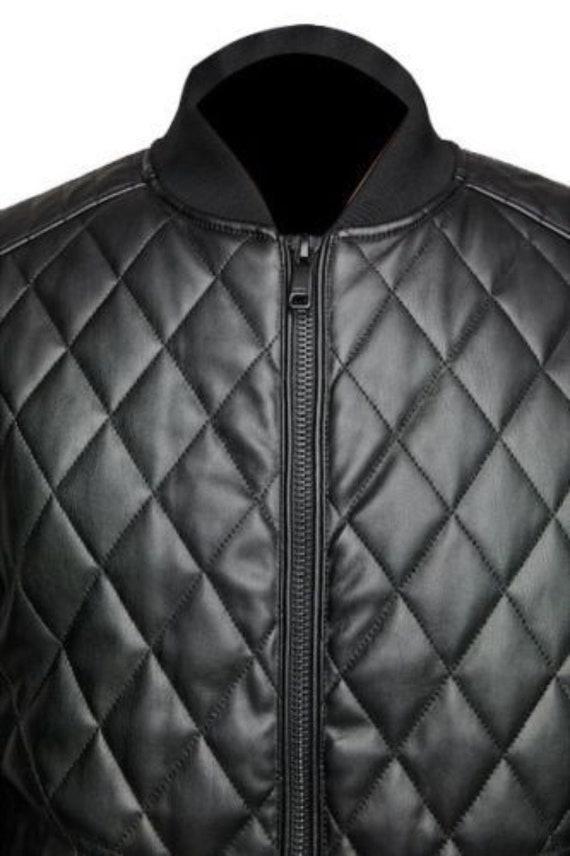 Quilted Black Cafe Racer Leather Jacket For Men Genuine Sheepskin Motorcycle