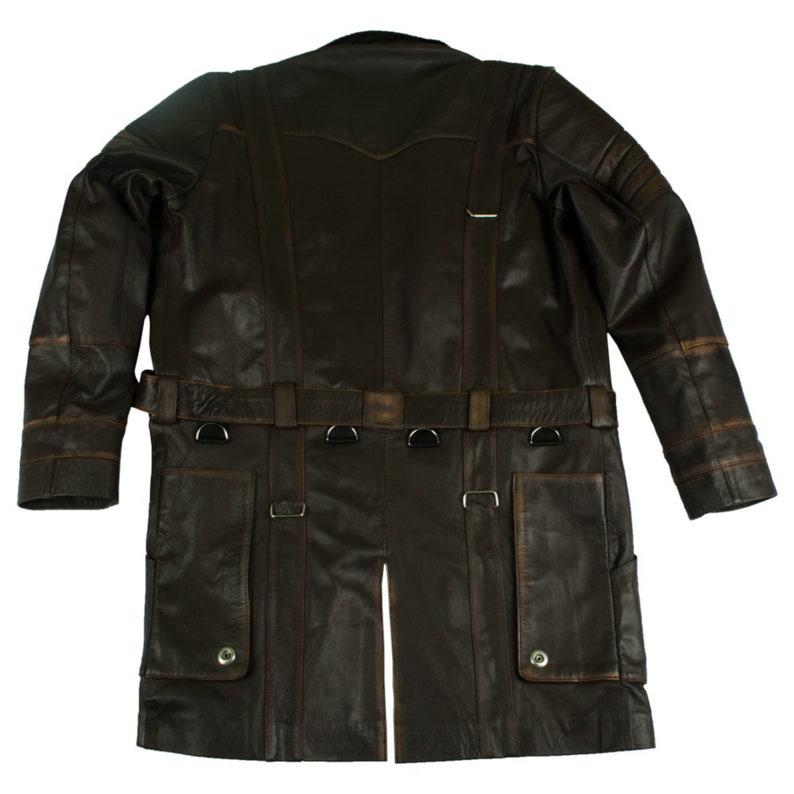 Mens Brown Coat Mid Length Quilted Design Lapel Collar Genuine Handmade Sheepskin Leather Jacket