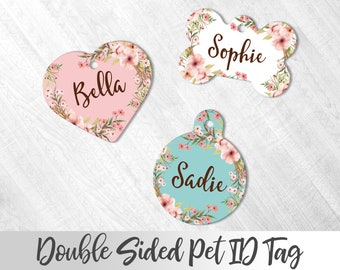 Floral Dog Tag Dog ID Tag Dog Name Tag Double Sided Name Tag Girl Dog Tag Personalized Pet Tag Custom Pet Tag Personalized Dog Tag
