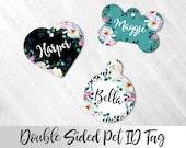 Cute Floral Pet Tag, Personalized Pet ID tag, Cat ID tag, Dog Name Tag, Blue Flowers Pet ID tag, Fancy Cat Tag, Cute Pet Tag, Custom Dog Tag