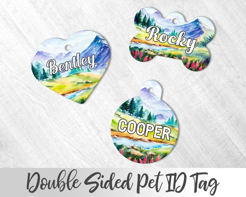 Mountains Dog Tag Personalized Pet tag Boy Dog Tag For Dog Wanderlust Dog Tag For Dog Rustic Dog Tag Wilderness Pet Tag Dog Name Tag