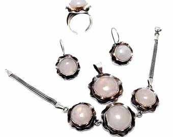 Authentic Binary Jewelry Set Made of Sterling Silver a Pair of Earrings Necklace Fine Silver Ethnic Jewelry With Zultanite Gemstone