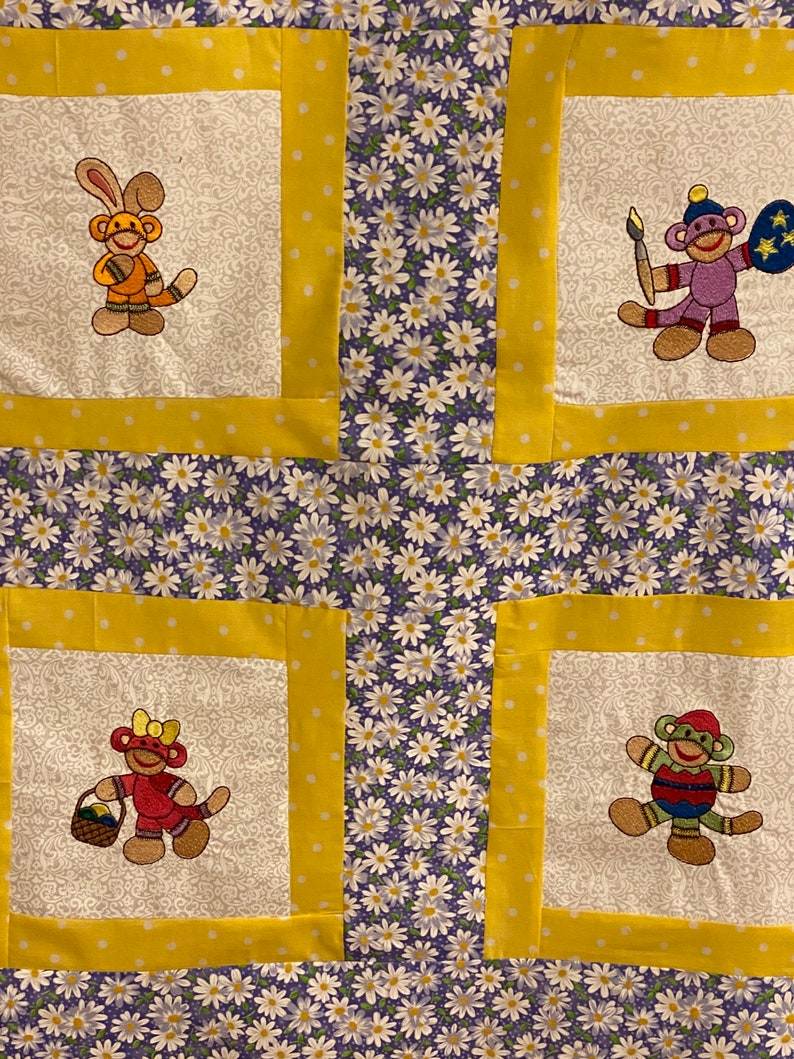Sock Monkey Happy Easter Baby Toddler sized unfinished quilt top ready to go!