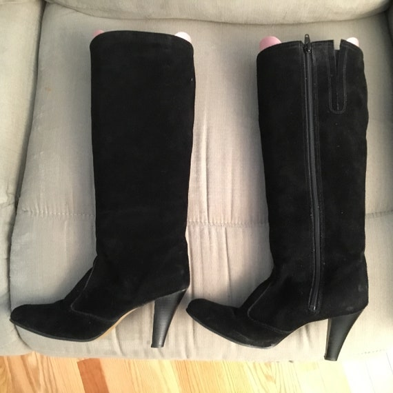 Black Suede Boots 1980s size 8 - image 1