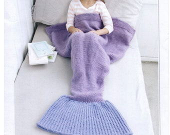 Mermaid blanket knitting pattern, pdf digital download,super-chunky, ages 3-14 years, cosy blanket, easy knit