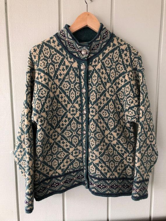 LL Bean Fair Isle Wool Mockneck Sweater