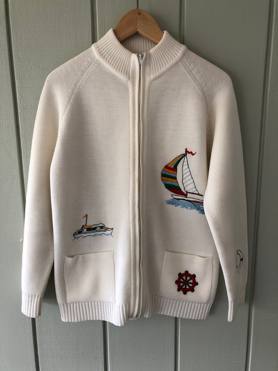 LeRoy Knitwear Embroidered Nautical Cardigan