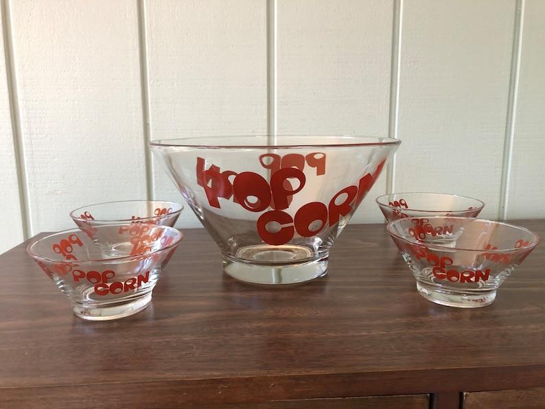 vintage 1970s Wheaton Glass Popcorn Bowl Set / Mid Century Popcorn Bowl Set