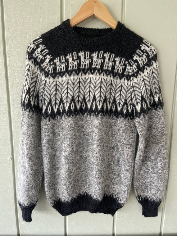 Gray Fair Isle Alpaca Sweater