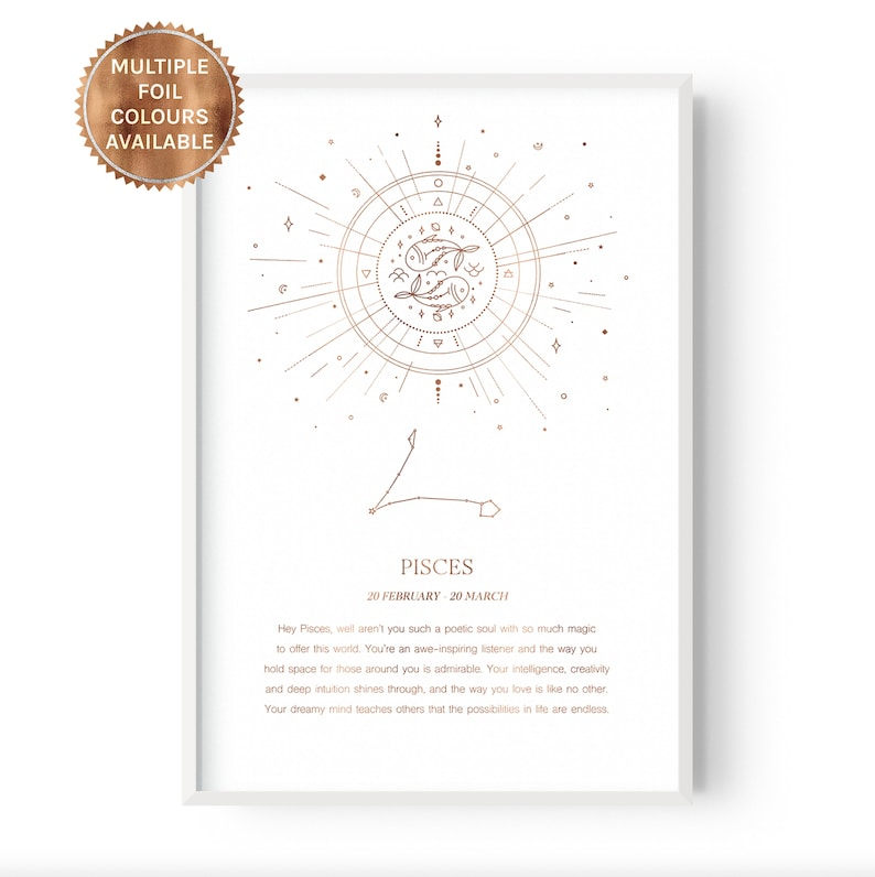 Quotes Decor Pisces Celestial Home Star Sign Wall Art Rose Gold Silver Foil Zodiac Astrology Affirmation Moon Stars Horoscope
