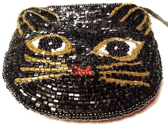 Cute vintage black beaded cat purse