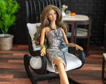 Dolls wooden furniture Black armchair for big dolls Large armchair for French boudoir doll Chair with armrests for bjd dolls