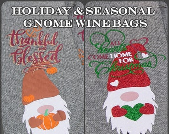 Seasonal & Holiday Gnome Wine Bags