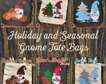 Holiday and Seasonal Gnome Tote Bags