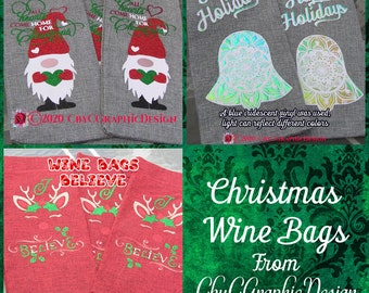 Christmas Wine Bags, great for gift wrapping alcoholic and non alcoholic gifts alike