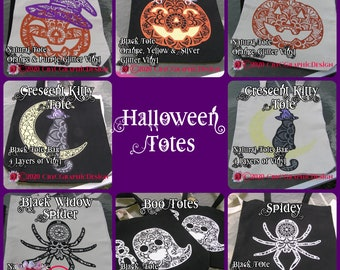 Halloween Mandala Totes From Ghosts, to Jack o'Lanterns, Kitties, to Spiders all sorts of fun.