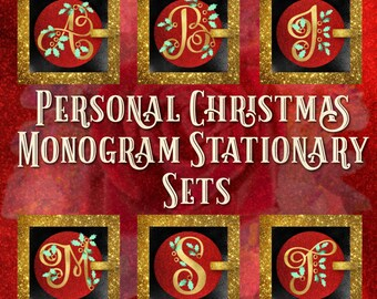 Christmas Holiday Monogram Stationary Set, Note Cards perfect for letters, thank yous and personal notes
