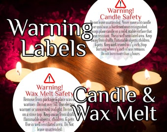 Candle Warning Labels & Wax Melt Warning labels, for your brand and business - personalized upgrade option available