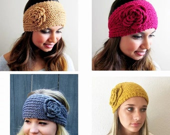 Handmade Knitted Headband with flower and button fastening, Knitted Earwarmer, Wool Headband, Winter Accessories, Gift for Her