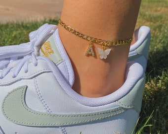 24k gold plated butterfly mariposa custom rhinestone initial anklet,name anklet, ankle bracelet,butterfly anklet, initial anklet