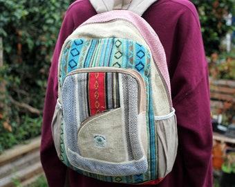 Hemp Backpack  Handmade Himalayan Summer Festival Laptop Cool Boho Bohemian College Uni Student Hippy Nepalese Alternative Eastern Colourful