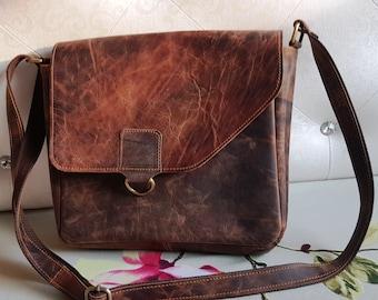 Womens Real Leather Organizer Cross Body Bag Multi Pocket Shoulder Handbag UK