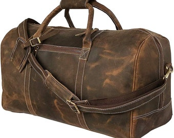 Rustic Leather Village Mens Real Leather Vintage Travel Duffel Gym Bag 28*12*12 Inches