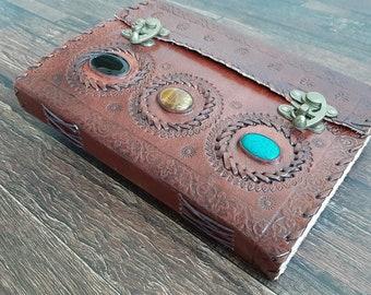 Large 10x7 Handmade blank leather journal, gift men women, embossed 3 stone stone notebook vintage diary lock sketchbook notebook travel