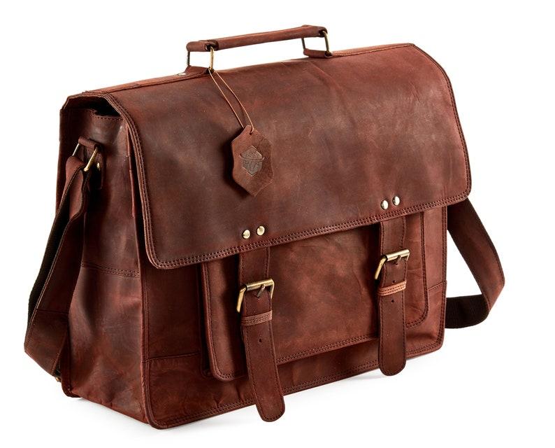 "18/"" Briefcase High Quality Genuine Leather Laptop Messenger Satchel Men New Bag"
