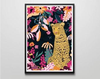 Midnight Leopard / Jungle / Tropical / Floral / Home Decor / Wall Art / Wall Print