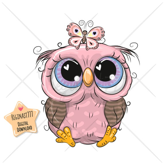 Rustic bird clipart for kids and nursery Cute woodland clipart for cardmaking and sublimation Digital hand drawn owl clipart in brown