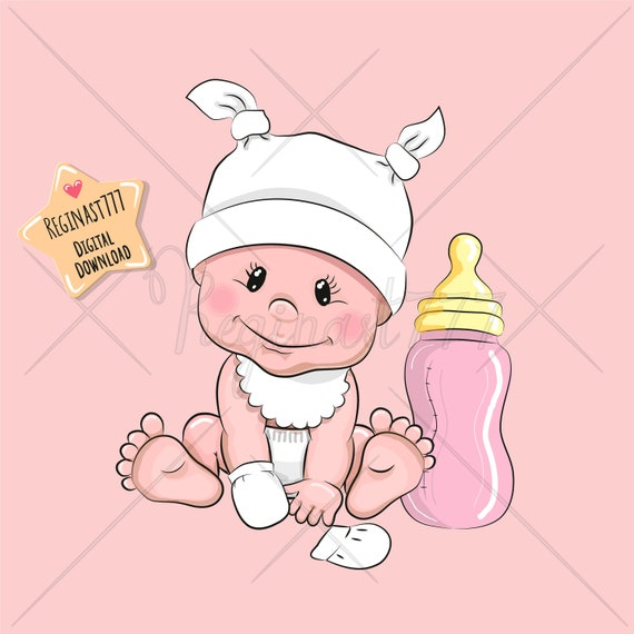 Cute Baby Girl Clipart Png Baby Clip Art Girl Digital Etsy