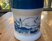 Vintage Opaline Milk Glass Container With Lighthouse Scene