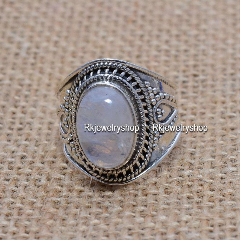 Sterling Silver Ring Vintage Ring DCS-4407 Rainbow Moonstone Oval Shape Gemstone Ring Statement Ring Woman Ring,Boho Ring,Handmade Ring