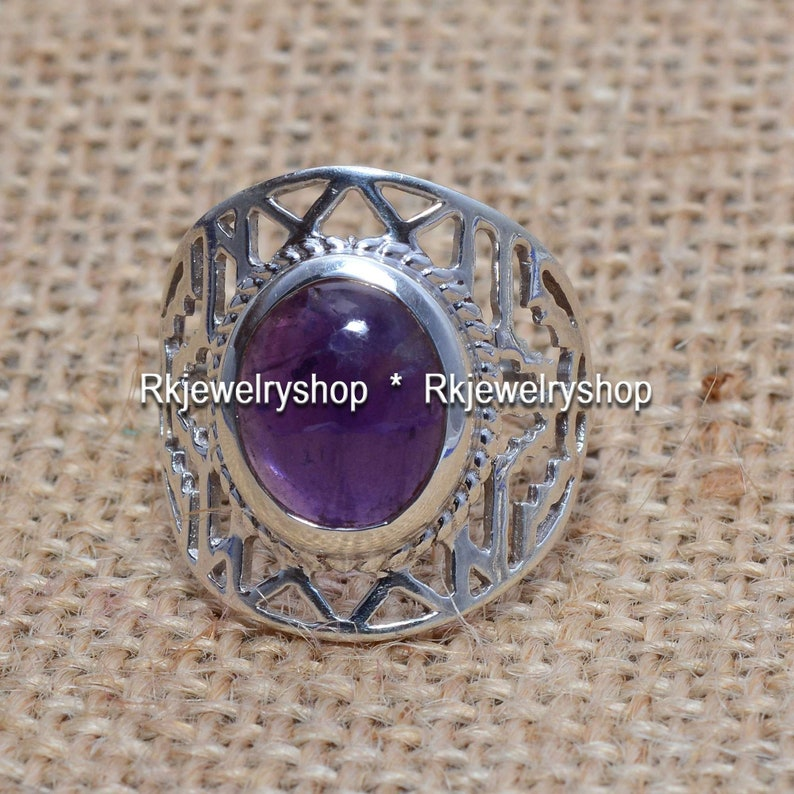 Gemstone Ring Women Ring Handmade Ring Vintage Ring 925 Silver Ring Gift For Her DCS-4548 Amethyst Oval Cabochon Ring Statement Ring