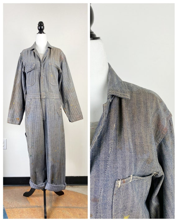 60's Herringbone Blue and Gray Workwear Coverall