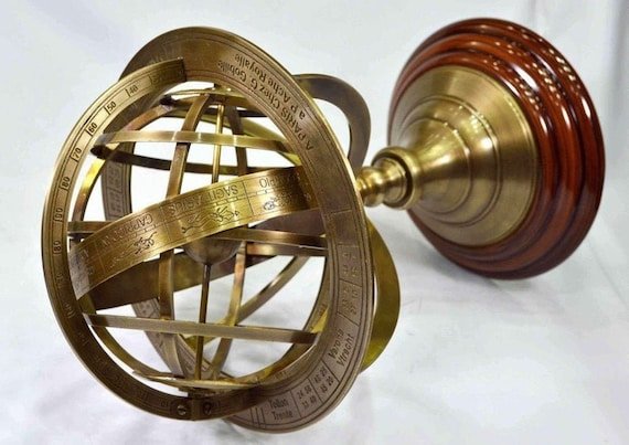 Brass Armillary Sphere Astrolabe On Wooden Base Maritime Collectible Nautical