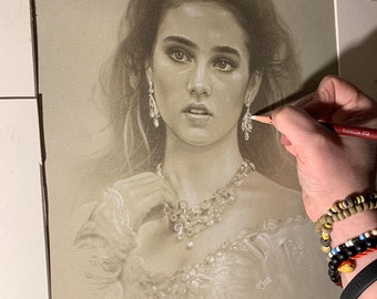 Limited print taken from my pastel drawing of Sarah from labyrinth
