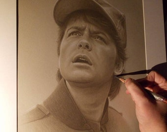Limited print of my pastel drawing of Marty Mcfly from back to the future