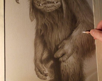 Limited print of my pastel drawing of ludo from labyrinth