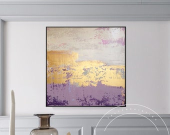 Abstract oil painting gold purple acrylic canvas painting framed wall art pictures on canvas decor cuadros abstracto for home decoration