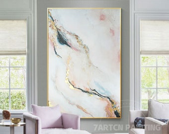 Watercolor Painting Framed Wall Art Abstract Blue Gold leaf Pink Minimal Landscape Modern Original Painting on Canvas Extra large wall art