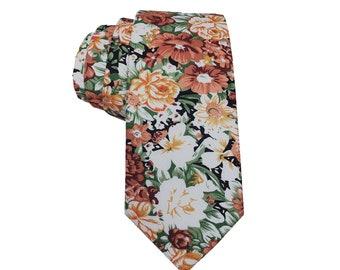 Peach white Green Floral Skinny Tie with matching Pocket Square Set| floral tie |Orange flower nectie | wedding rose tie |groomsmen