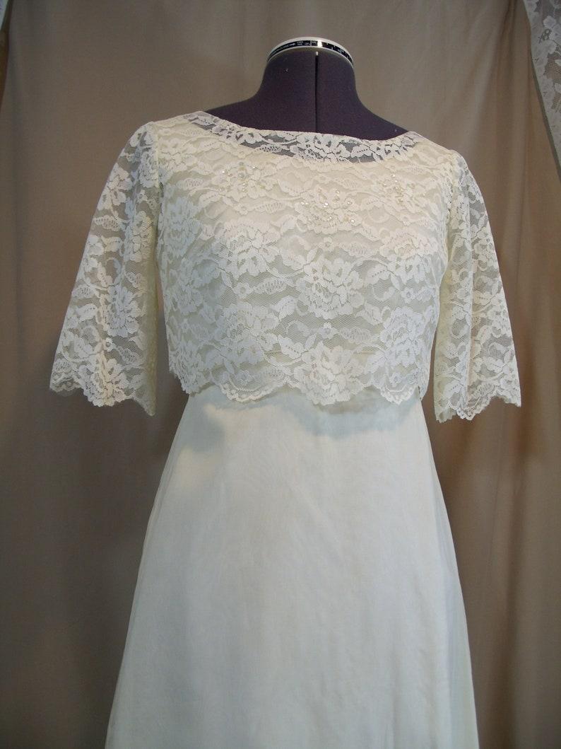 1960s Vintage Ivory Wedding Gown Detachable Train Handmade