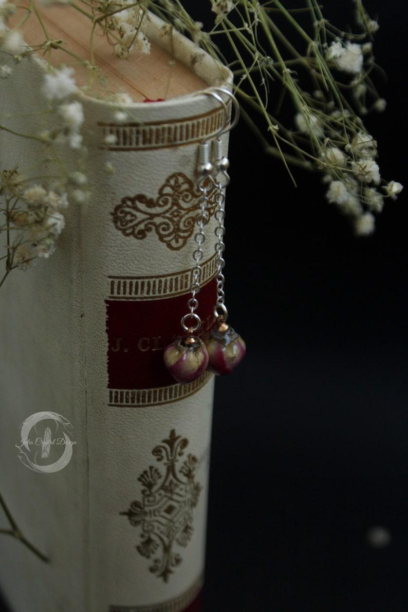 Natural Rose Bud 925 Silver Drop Long Earrings Resin Sphere Natural Flower Dried